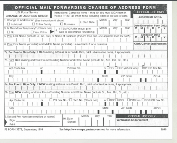 USPS Change of Address through the Post Office