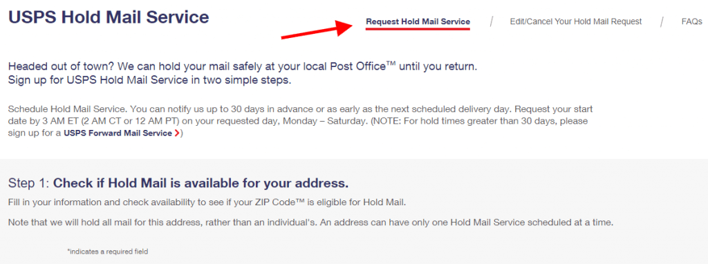 edit your hold mail request