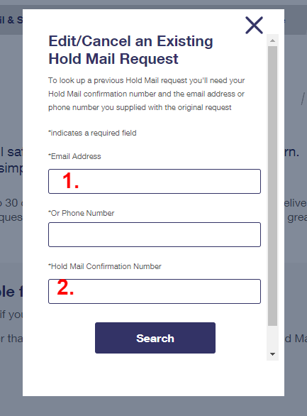 enter required fields for holding mails