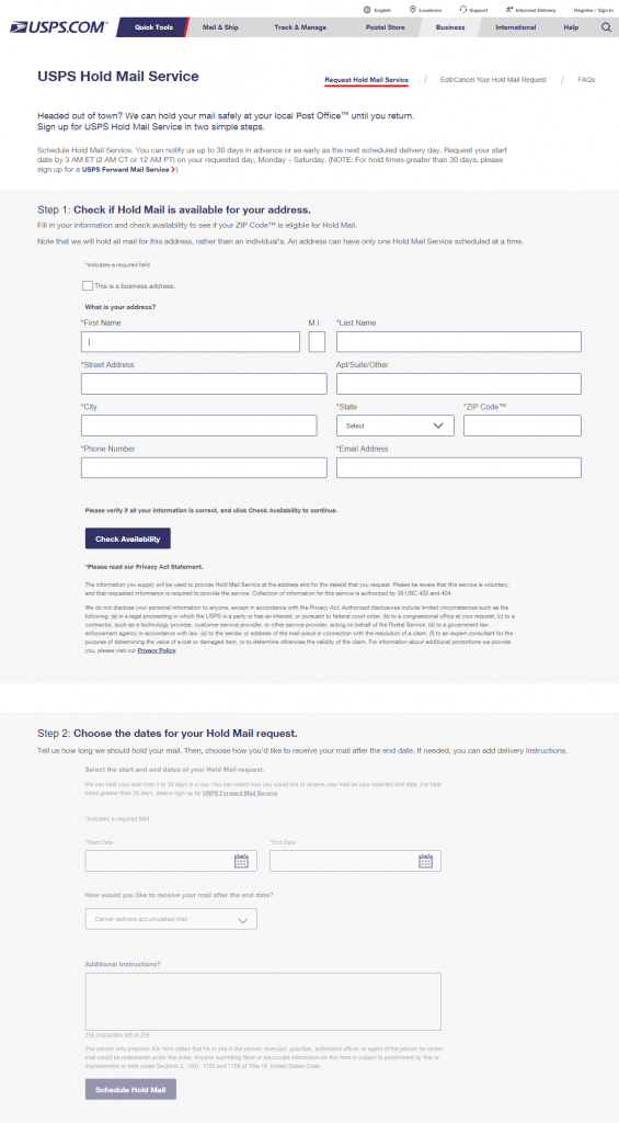 usps hold mail request form