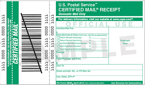 Certified Mail Return Receipt