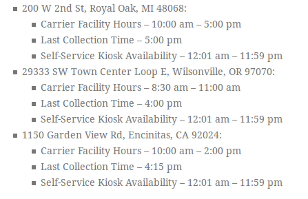 Post Office Saturday Hours